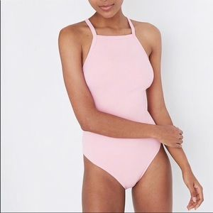 NWT Madewell Pink Ribbed Swimsuit Sz. L